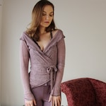 linen wrap cardigan with metallic sparkle in sheer jersey - Ready to ship - XS - Rose Quartz