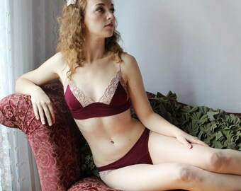 7ded7274ed14a bamboo triangle bralette with lace trim - CATHEDRAL lingerie range - made  to order