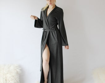 Womens long bamboo and cotton robe with pockets 89ad5730e