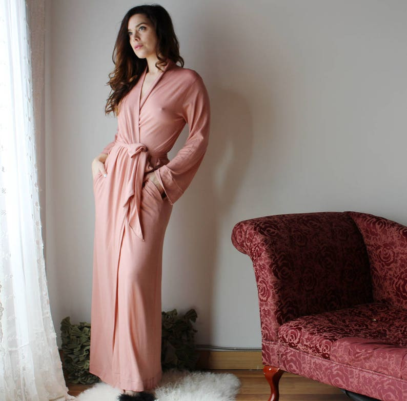 lightweight merino wool robe with pockets for women in full image 0