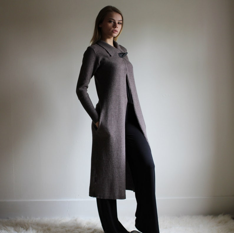 Long Wool Cardigan with pockets a collar leather toggle image 0