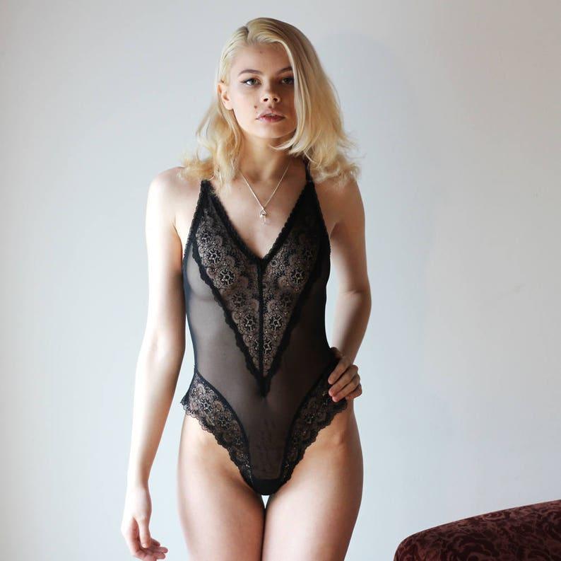 b14078fd16a Womens lace bodysuit teddy CUPID sheer mesh lingerie range