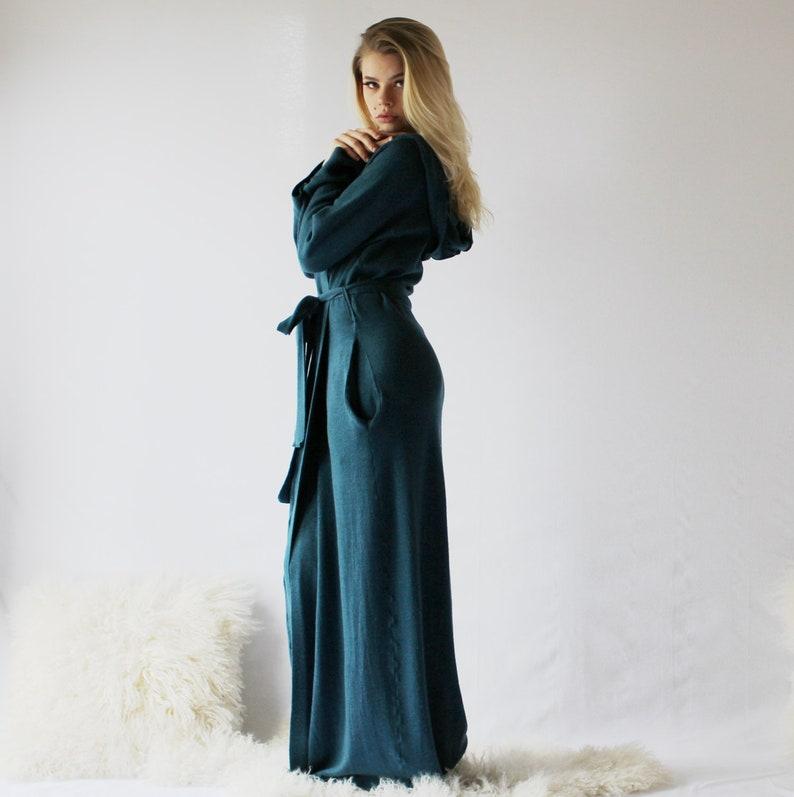 Womens Long Merino Wool Robe with Pockets and Hood Warm Robe image 0