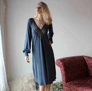 long bamboo nightgown with bishop sleeves and lace trim - NOUVEAU bamboo sleepwear range - made to order