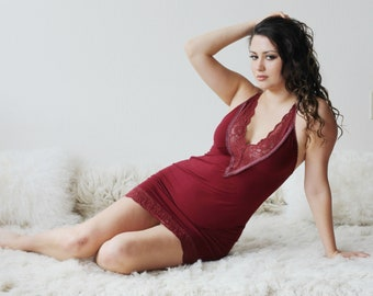 Bamboo Lace Slip, Womens Short Chemise, Cathedral womens bamboo sleepwear range - made to order