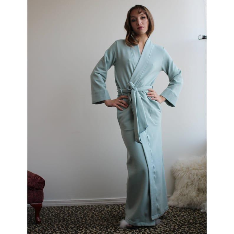 9ea09600d16e Womens Robe in Tencel and Organic Cotton Plush Stretch Fleece | Etsy