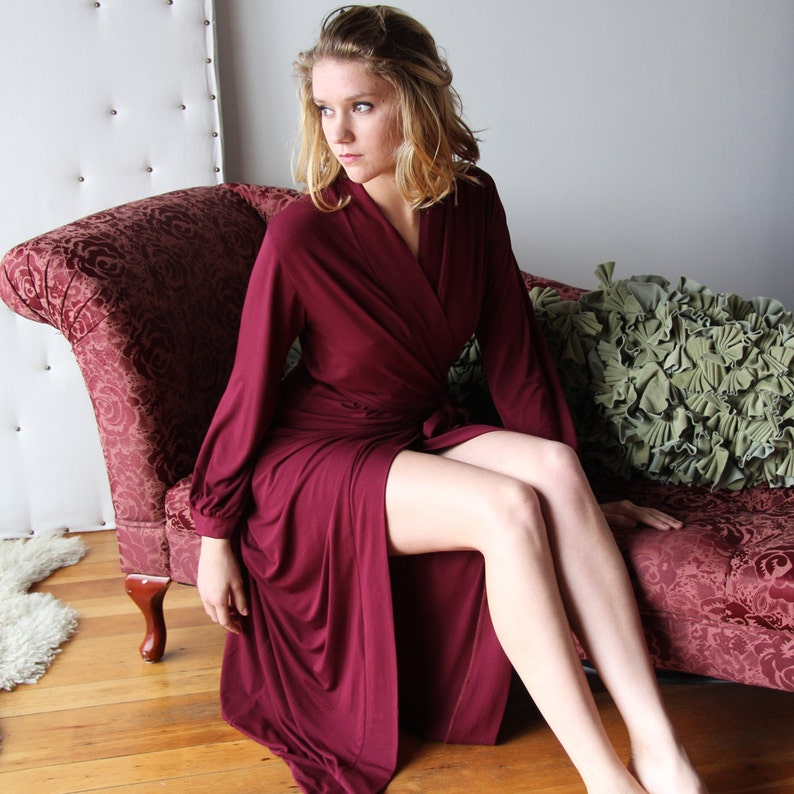 long bamboo robe with wrap closure and bishop sleeve full image 0