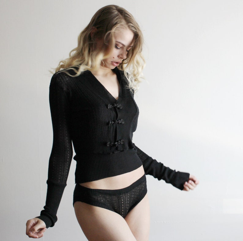 Two Piece Silk Sweater Set including the Cropped Sheer Lace image 0