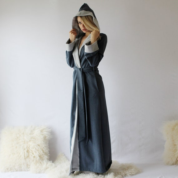 Long Hooded Robe in Tencel and Organic Cotton Plush Stretch  7b8164180
