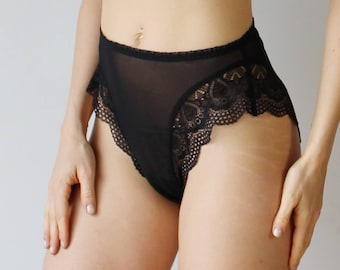 high cut panties in sheer mesh with lace trim - womens lingerie range - ROMANTIC - made to order