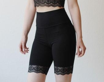 Bamboo Biker Shorts, Lace Shorts, High Waist Pants, Natural Clothing, Lingerie Shorts, Made To Order