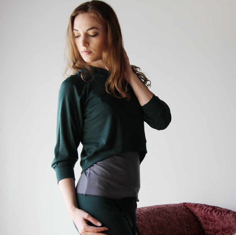 Color Forest ready to ship size Small cropped wool hoody in double knit fine stretch jersey