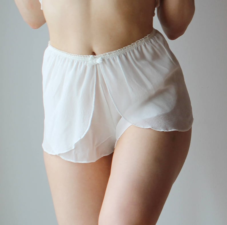 made to order BROOK silk chiffon bridal lingerie range Sheer silk lingerie set including sarong boxer and camisole