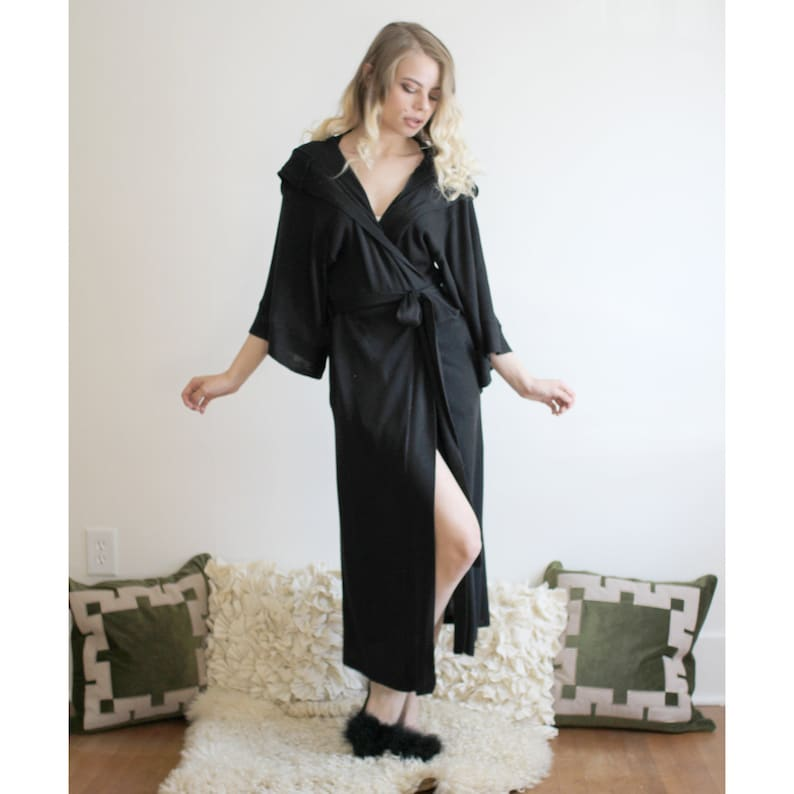 hooded silk and cashmere knit robe with kimono sleeves and image 0