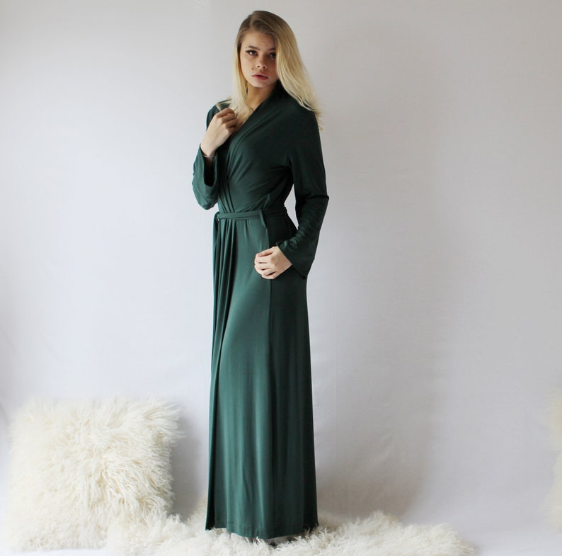 womens long bamboo robe   ready to ship  Forest Green  size image 0