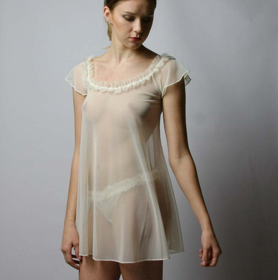 5481a11db02d Womens sheer nightgown with ruffled neckline RUFFLES