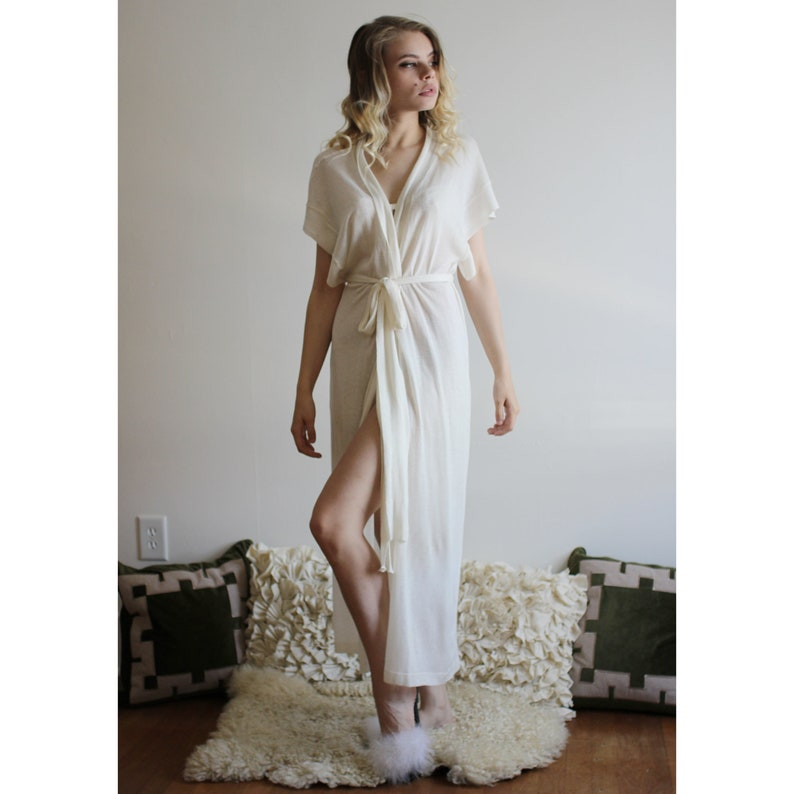 Long Silk Cardigan Sheer Robe Cashmere Sweater Ivory Wrap image 0