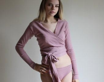 Womens Merino Wool Shrug, Wrap Sweater, Wool Sweater, 100% Merino, Rose Sweater, Cardigan, Ready To Ship, Size Small, Color Dusty Rose