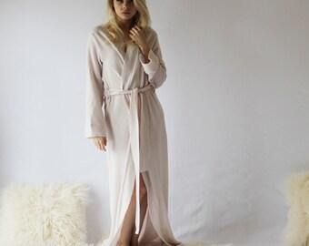 Long Merino Wool Robe for Women, Warm Robe, Full Length Robe, Merino Wool, Wool Sleepwear, Sweater Knit, 100% Wool