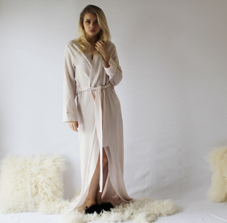 Long Merino Wool Robe for Women Warm Robe Full Length Robe image 0