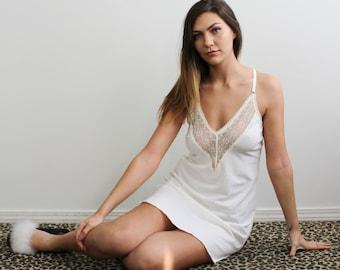 Organic Cotton Nightgown, Women Lingerie, Bridal Lingerie, Slip Dress, White Lingerie, Wedding Lingerie, Wife Gift