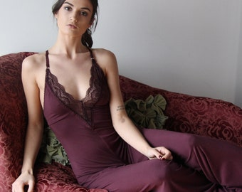 bamboo lingerie jumpsuit with plunging lace neckline and wide legs - ICON sleepwear and lingerie range - made to order