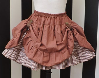 Brown stripes steampunk skirt, high low, bustle skirt ,lace skirt, pirate skirt, steampunk clothing, gothic victorian, western ,saloon