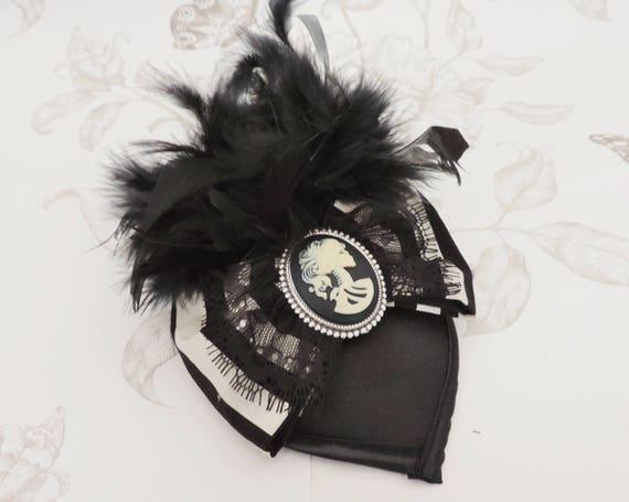 Gothic fascinator skull bibi cameo hair clip black mini  e60fcb877ca