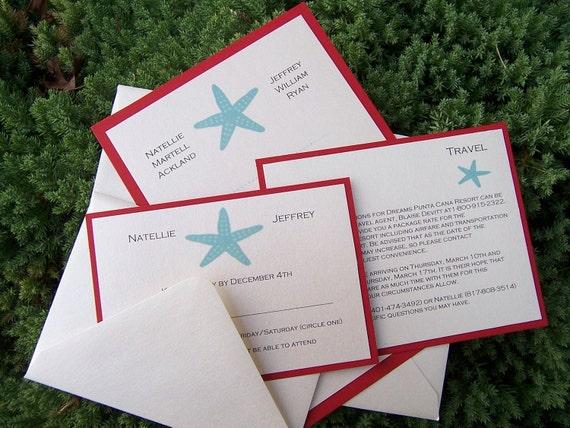 Strand Hochzeit Einladung Hochzeitseinladung Seestern Ziel | Etsy