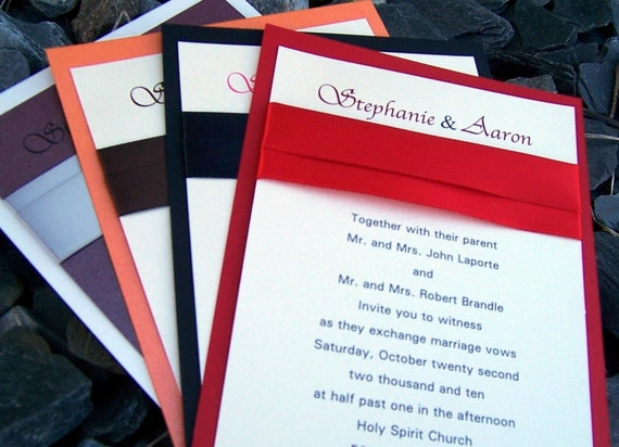 Red And Black Wedding Invitation Kits: Items Similar To Classic Wedding Invitation, Red, Black