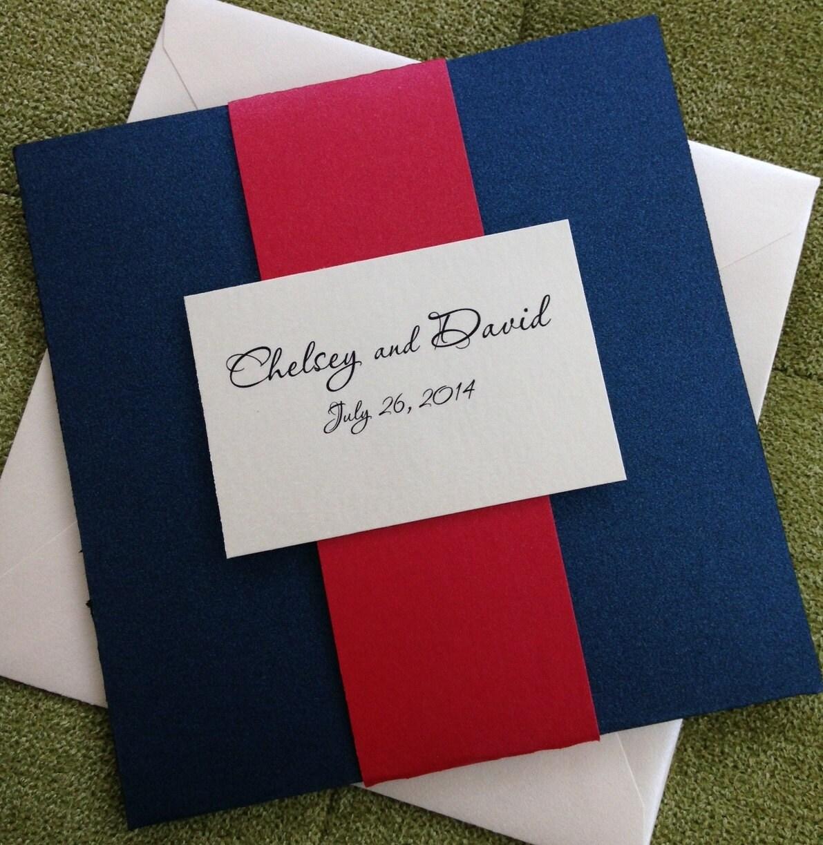 Pocket fold Invitation Modern Wedding Invitation Navy | Etsy
