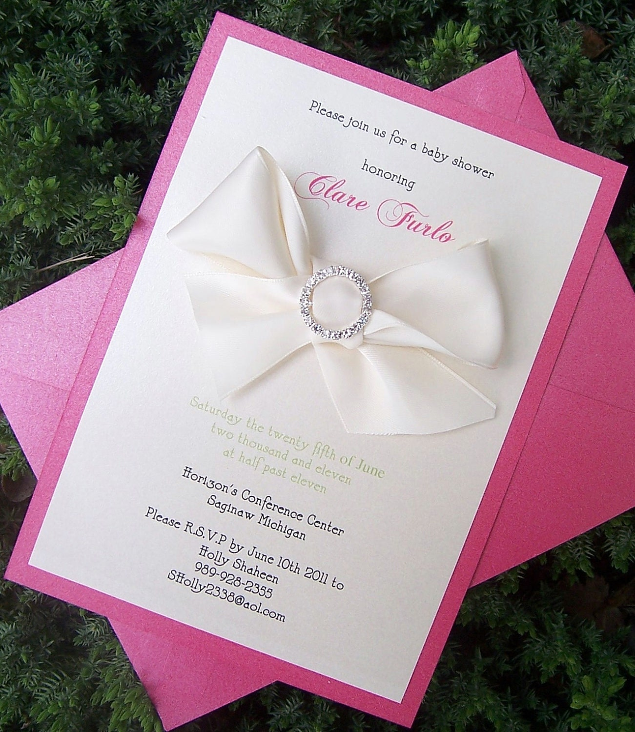 Personalised New Baby Or Birthday Card By Mint Nifty: Baby Shower Invitation Pink Shower Invitation Rhinestone