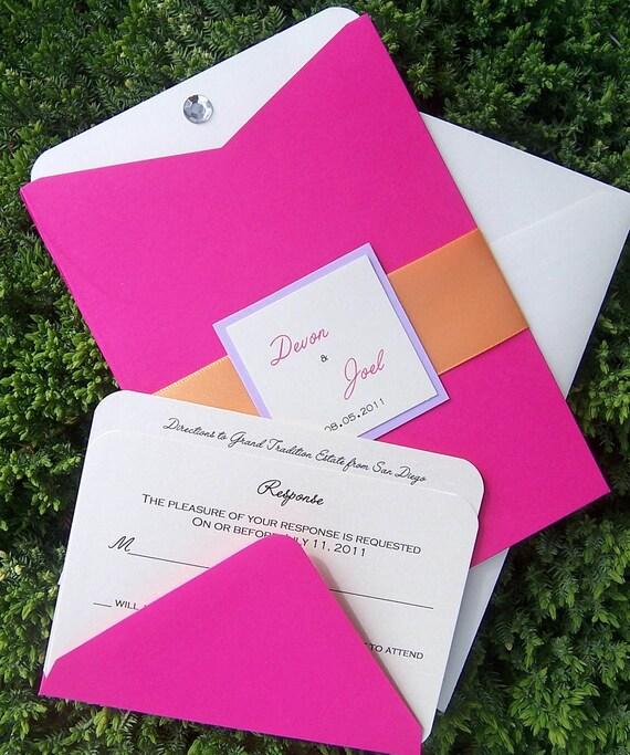 Pink Orange Wedding Invitations: Items Similar To Pocket Invitation, Pink, Orange, Ivory