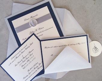 Elegant Invitation, Wedding Invitation, Navy Invitation, Silver Invitation, Custom Invitation