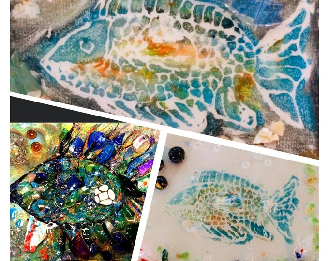 Workshop: Hand Blown Glass Mosaic TROPICAL FISH on Canvas at Makana Art Studio, Biloxi, MS