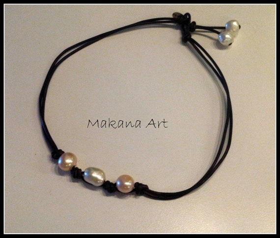 White with Cream Pearls and Leather Necklace  - pearl - engagement - wedding - personalized - jewelry
