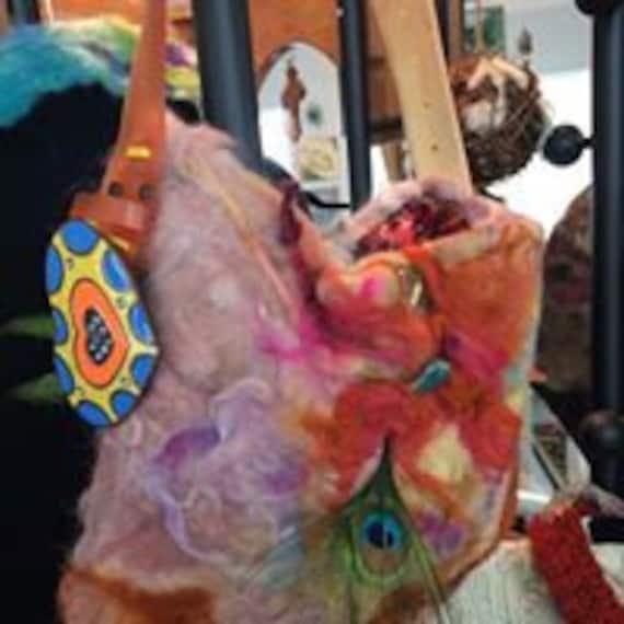 Groovy Felted Art Purse - fibre craft -art yarns - fiber yarn - weave - crochet