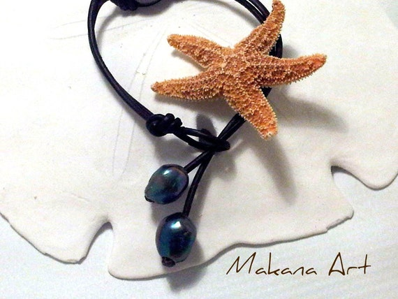 Blue Peacock Pearls and Leather  Bracelet  - pearl - engagement - wedding - personalized - jewelry