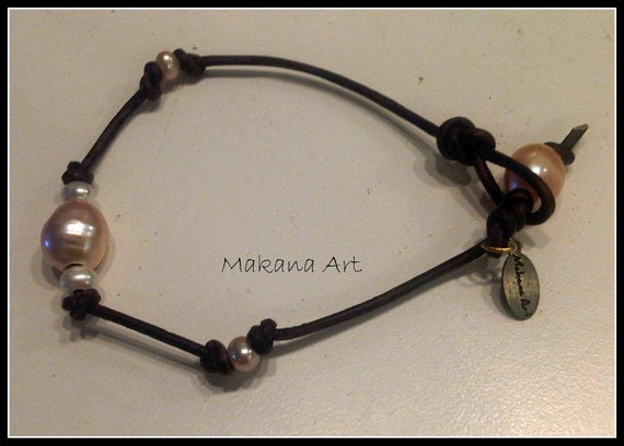 Sweat Pea - Leather and Pearls Bracelet  - pearl - engagement - wedding - personalized - jewelry