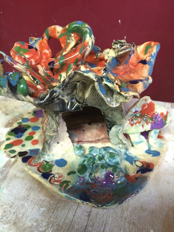OOAK Pottery Birdhouse Bird House by Makana Art Studio - pottery gifts - handmade gifts - housewarming gift ideas - engagement gift ideas