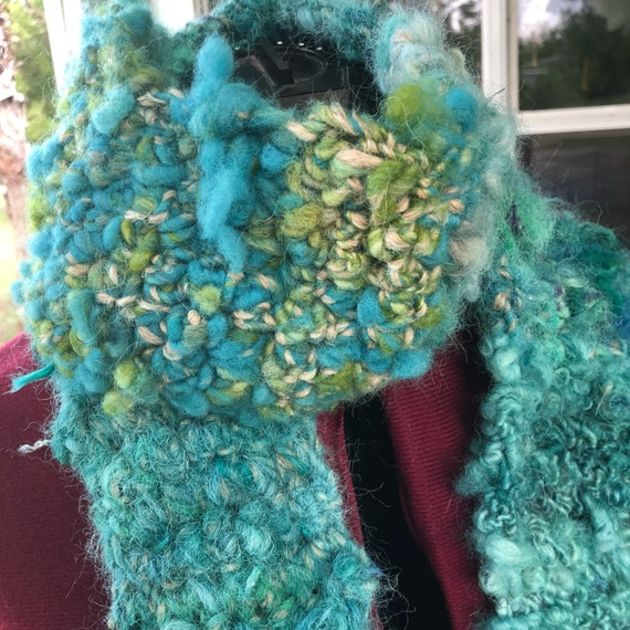 Hand Dyed, Spun and Crocheted Chunky Wool and Alpaca Scarf