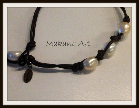 Anklet Pearls and Leather -  pearl - engagement - wedding - personalized - jewelry