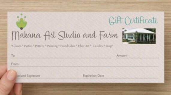 50 Dollar GIFT CERTIFICATE for Makana Art Studio  - engagement gift - birthday gift - shower gift - housewarming gift - bridesmaid gift