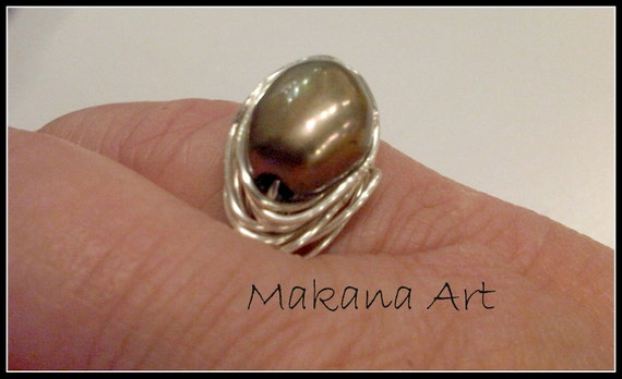 Sage Pearl and Sterling Ring  - pearl - engagement - wedding - personalized - jewelry