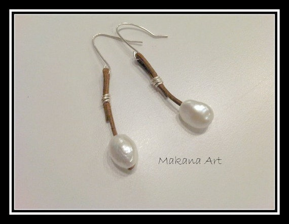 Pearl and Leather Earrings - pearl - engagement - wedding - personalized - jewelry