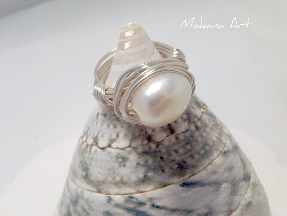 White Pearl and Sterling Ring   - pearl - engagement - wedding - personalized - jewelry