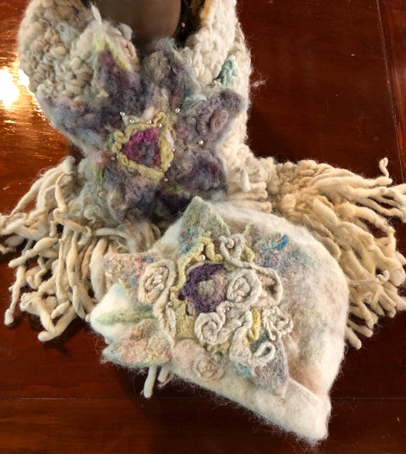 Custom order for Ann ONLY!!  Hand Dyed, Spun and Crocheted Chunky Wool and Alpaca Scarf