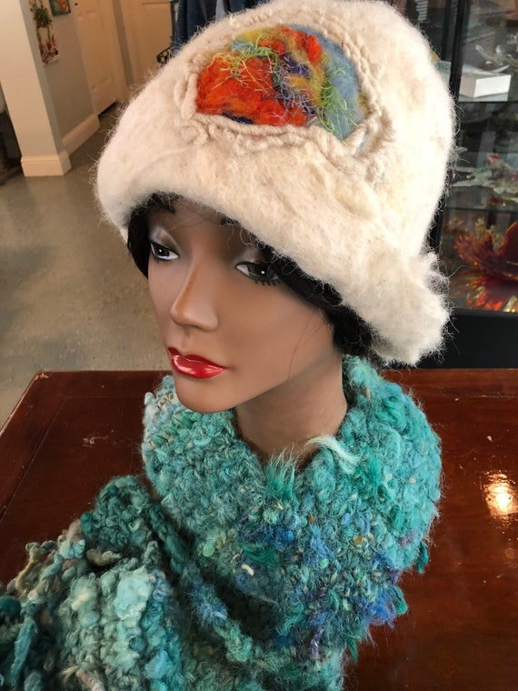 Wet Felted Hat made by Makana Art Studio!