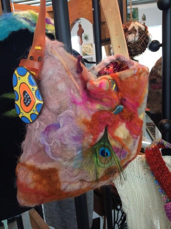 Felted Purse Handbag - fibre craft -art yarns - fiber yarn - weave - crochet