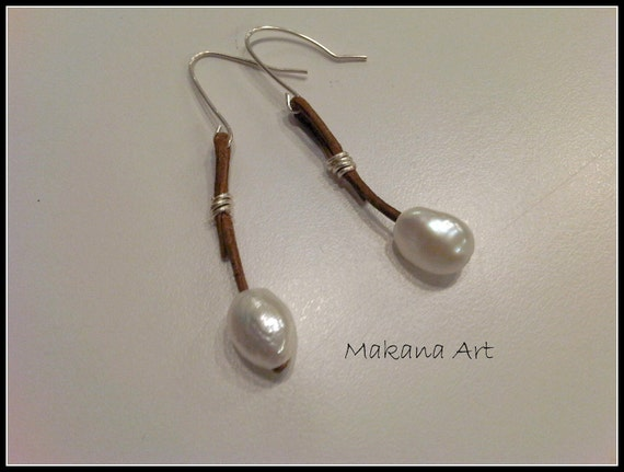 Pearl and Leather Drop Earrings -  pearl - engagement - wedding - personalized - jewelry